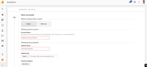 Create a new Google analytics account