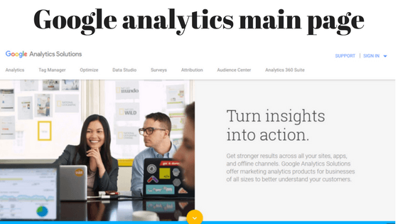 Google analytics main page