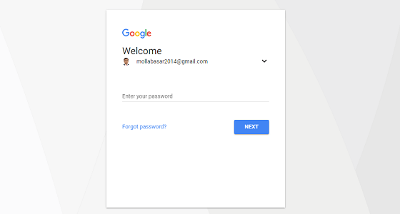 Log in with gmail account